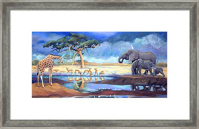 Botswana Watering Hole Framed Print
