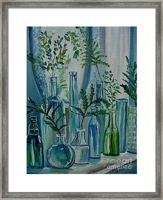Framed Print featuring the painting Bottle Brigade by Julie Brugh Riffey