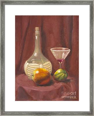 Bottle Glass And Fruits Framed Print by Bruce Lum