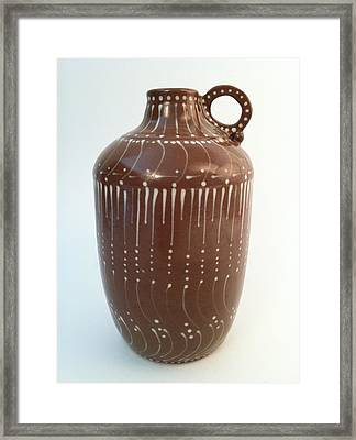 Bottle Of Deep Red Clay With White Slip Decoration And A Handle Framed Print