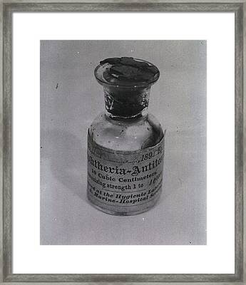 Bottle Of Diphtheria Antitoxin Dated Framed Print