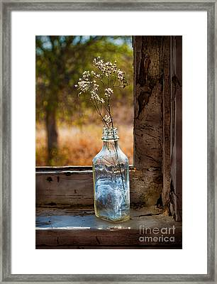 Bottle On Window Sill Framed Print