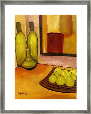 Bottles And Pears No 1. Framed Print by Mary ann Barker