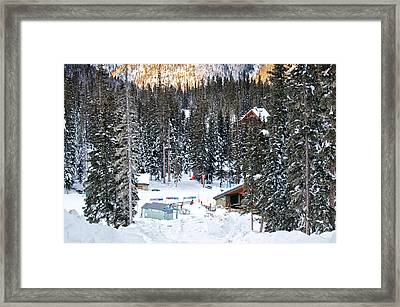 Bottom Of Ski Slope Framed Print by Lisa  Spencer
