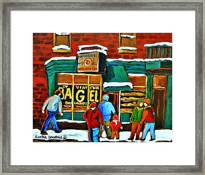 Boulangerie St.viateur Scene De Rue De Montreal En Hiver Framed Print by Carole Spandau