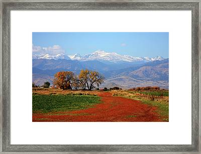 Boulder County Colorado Landscape Red Road Autumn View Framed Print by James BO  Insogna