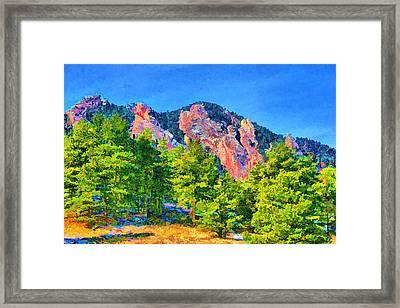 Framed Print featuring the digital art Boulder Flatirons by Brian Davis