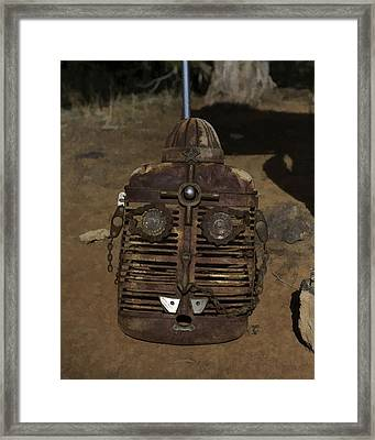 Framed Print featuring the photograph Boulder Utah Roadside Tractor Grill Face by Gregory Scott