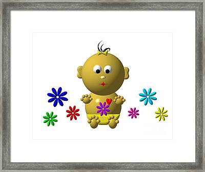 Bouncing Baby Girl With 7 Flowers Framed Print by Rose Santuci-Sofranko