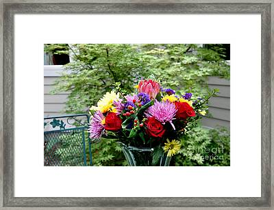 Bouquet Behind Her Bedroom Window  2 Framed Print by Tanya  Searcy