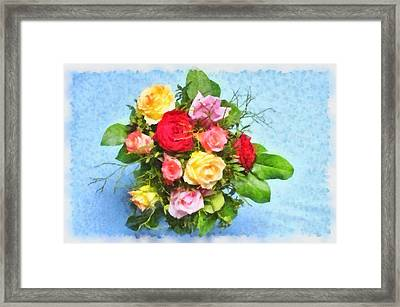 Bouquet Of Colorful Flowers - Digital Watercolor Painting Framed Print by Matthias Hauser