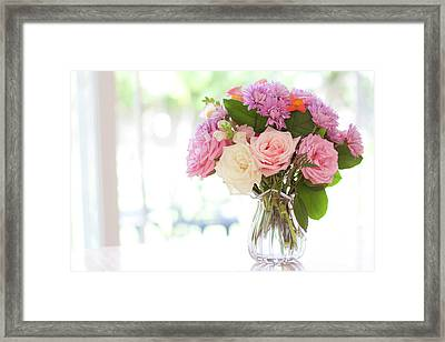 Bouquet Of Flowers On Table Near Window Framed Print