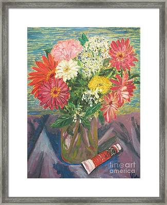 Bouquet With Paint Framed Print by Judy Via-Wolff