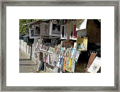 Bouquiniste Book Seller At Quays Of Seine Paris Framed Print by Bernard Jaubert