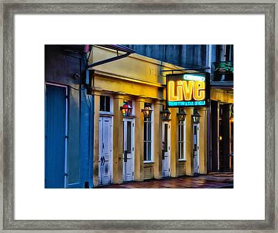 Bourbon Live - French Quarter Framed Print by Bill Cannon
