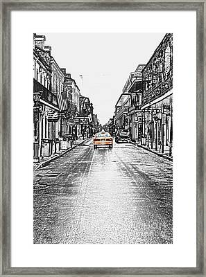 Bourbon St Taxi French Quarter New Orleans Color Splash Black And White Colored Pencil Digital Art Framed Print by Shawn O'Brien