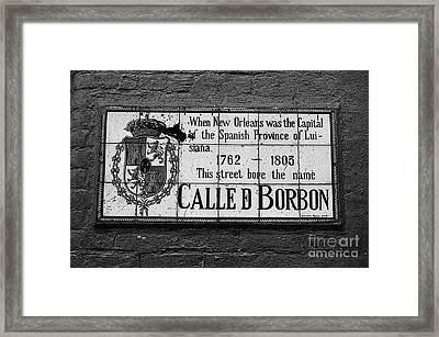Bourbon Street Historic Plaque French Quarter New Orleans Black And White Poster Edges Digital Art Framed Print by Shawn O'Brien