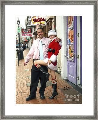 Bourbon Street In Daylight - Santa's Helper Framed Print