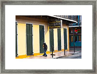 Bourbon Street Morning Framed Print by Leslie Leda
