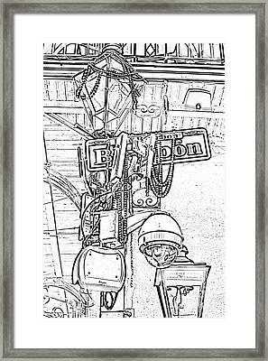 Bourbon Street Sign And Lamp Covered In Beads Black And White Photocopy Digital Art Framed Print by Shawn O'Brien