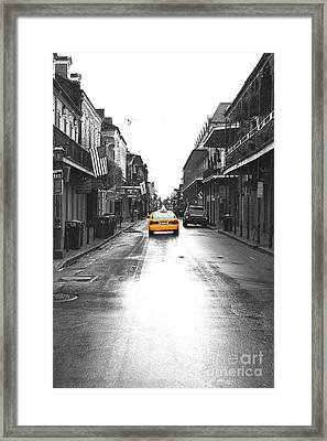 Bourbon Street Taxi French Quarter New Orleans Color Splash Black And White Film Grain Digital Art Framed Print by Shawn O'Brien