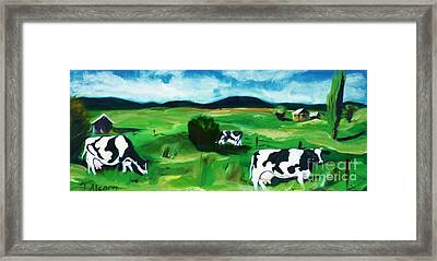 Framed Print featuring the painting Bovine Bliss by Therese Alcorn