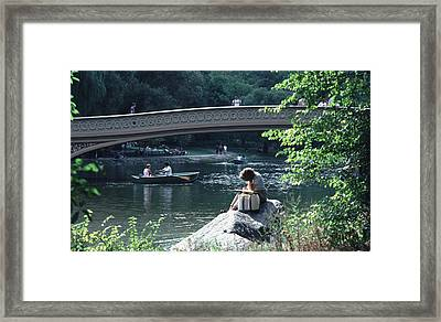 Framed Print featuring the photograph Bow Bridge In Central Park Nyc by Tom Wurl