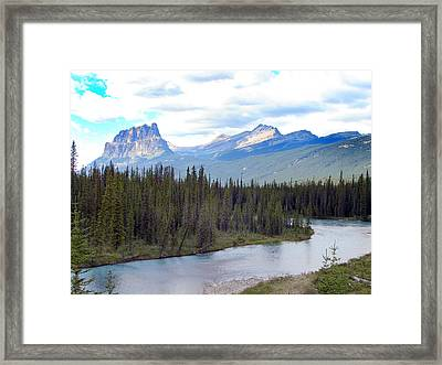 Bow River By Castle Mountain Framed Print