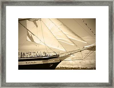 Bow Sprit Of Tall Ship Framed Print by Kym Backland