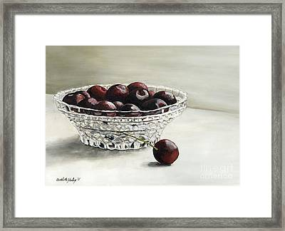 Bowl Full Of Cherries Framed Print by Charlotte Yealey