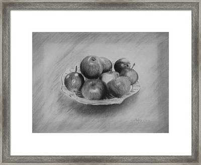 Framed Print featuring the drawing Bowl Of Apples by Lynn Hughes