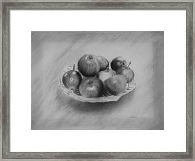Bowl Of Apples Framed Print by Lynn Hughes