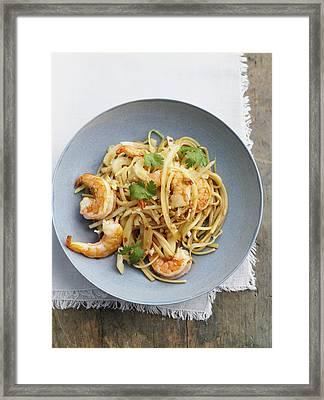 Bowl Of Asian Noodles With Prawns Framed Print by Cultura/BRETT STEVENS