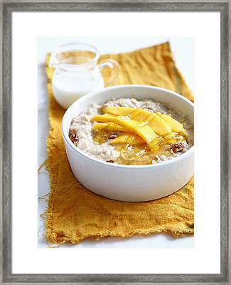 Bowl Of Muesli With Mango Framed Print