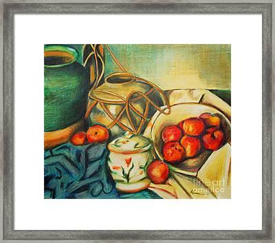 Bowl Of Peaches Framed Print by Joe McGinnis
