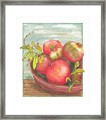 Framed Print featuring the painting Bowl Of Pomegranates by Terry Taylor