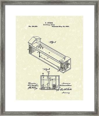Bowling Alley 1881 Patent Art Framed Print