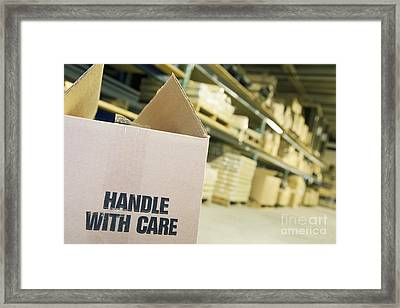 Box Labeled Handle With Care Framed Print