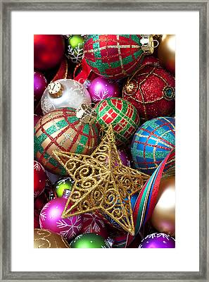 Box Of Christmas Ornaments With Star Framed Print by Garry Gay