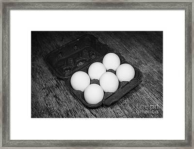 Box Of Half Dozen White Organic Fresh Eggs Framed Print by Joe Fox