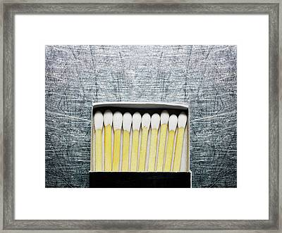 Box Of Wooden Matches On Stainless Steel. Framed Print by Ballyscanlon