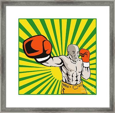 Boxer Boxing Jabbing Front Framed Print by Aloysius Patrimonio