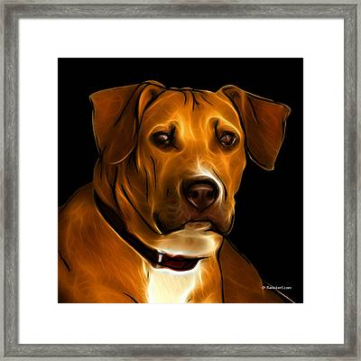 Boxer Pitbull Mix Pop Art - Orange Framed Print by James Ahn