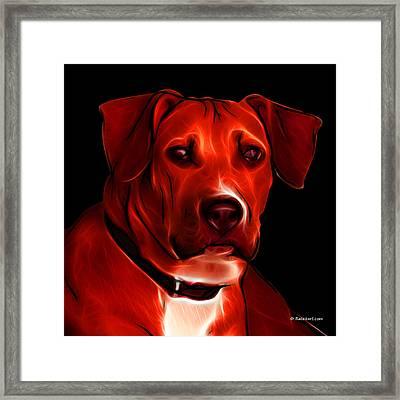 Boxer Pitbull Mix Pop Art - Red Framed Print by James Ahn