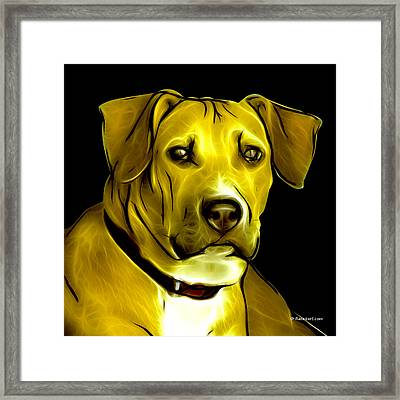 Boxer Pitbull Mix Pop Art - Yellow Framed Print by James Ahn