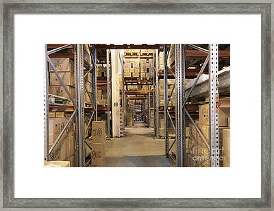 Boxes Stored In A Warehouse Framed Print
