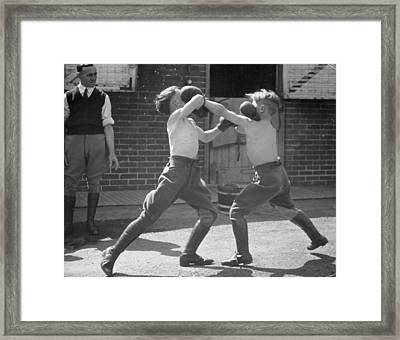 Boxing Boys Framed Print by Felix Man
