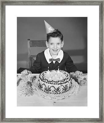 Boy (2-3) In Party Hat With Birthday Cake, (b&w),, Portrait Framed Print by George Marks