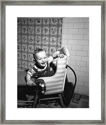 Boy (2-3) Sitting In High Chair,  (b&w), Portrait Framed Print by George Marks