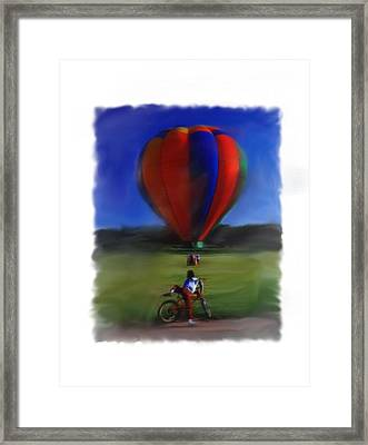 Framed Print featuring the digital art Boy  And Balloon by Mary M Collins